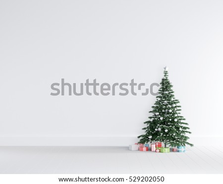 Christmas concept interior room , christmas tree , gift box in white room interior with wooden floor.