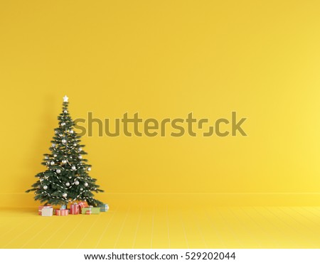 Christmas concept interior room , christmas tree , gift box in yellow room interior with wooden floor.
