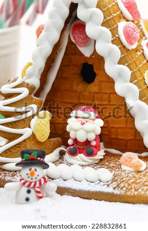 Christmas cookie house with festive decoration