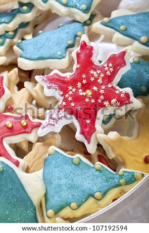 christmas cookie mix stars pine trees and meringue
