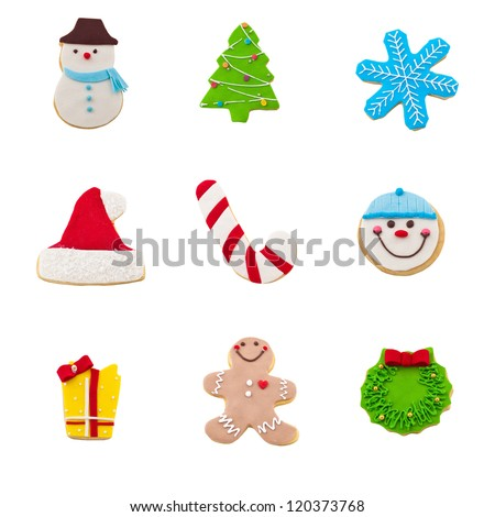 christmas cookie set of nine gingerbread cookies