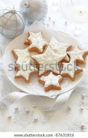 Christmas cookie stars with decoration
