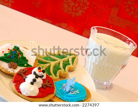 Christmas Cookies - A plate of decorated holiday cookies against a cheerful happy holidays background.