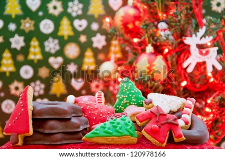 Christmas cookies and gingerbread with decoration and christmas lights