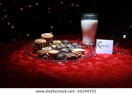 christmas cookies and milk for santa claus on christmas eve