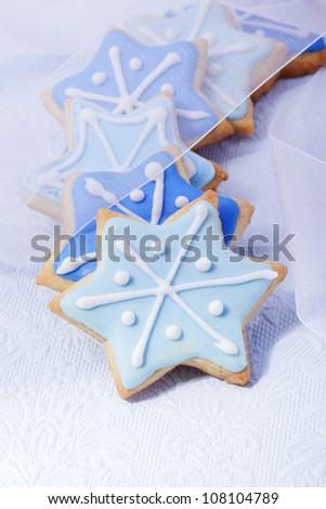 Christmas cookies, Christmas biscuits, Christmas baking, bakery, blue stars,