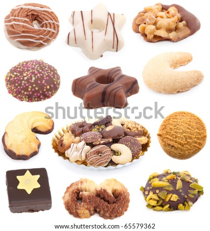 Christmas cookies collection isolated on white background