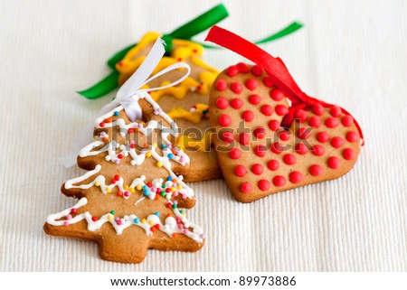 Christmas cookies in the form of christmas trees and heart - stock photo