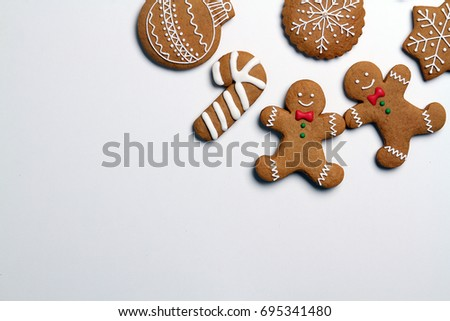 Christmas cookies isolated on white background #695341480