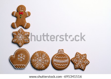 Christmas cookies isolated on white background #695341516