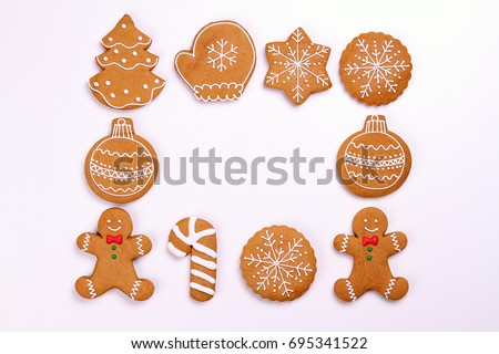 Christmas cookies isolated on white background #695341522