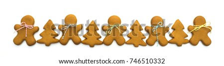 Christmas cookies isolated on white background. Christmas baking. Making gingerbread christmas cookies. Christmas concept. #746510332