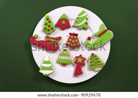 Christmas cookies on white plate