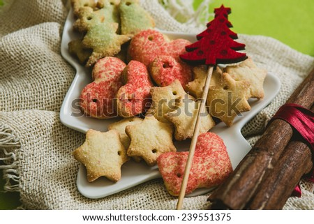 Christmas cookies with festive decoration. Selective focus. warm colors