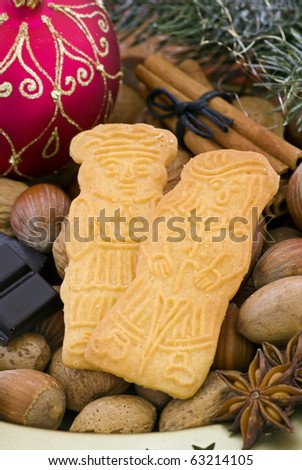 Christmas Cookies with Nuts - stock photo