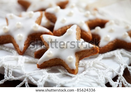 Christmas cookies with white icing, selective focus