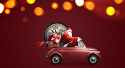 Christmas countdown arriving. Santa Claus on car delivering New Year gifts and clock at red background