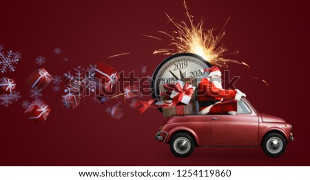 Christmas countdown arriving. Santa Claus on car delivering New Year gifts and clock at red background #1254119860