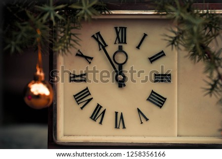 Christmas countdown new year Clock and balls fir. Snow, antique. #1258356166