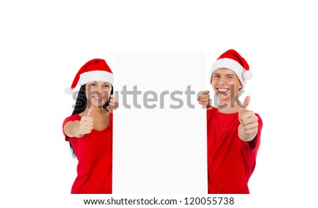 Christmas couple hold thumb up gesture white board with empty copy space, concept of advertise new year season shopping sale, wear red hats and shirts, isolated over white background