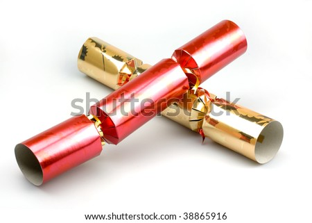 christmas crackers isolated on a white background