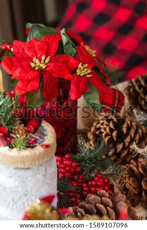 Christmas craft scene with jars with poinsettias and pine cones