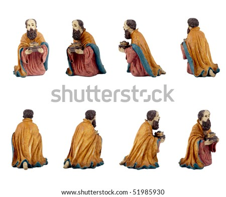 Christmas crib isolated on white statuettes representing a King.