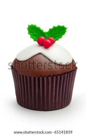 Christmas cupcake - stock photo