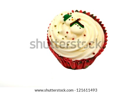 Christmas cupcake isolated on white background