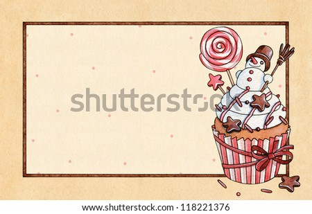 Christmas cupcake. Watercolor greeting Card
