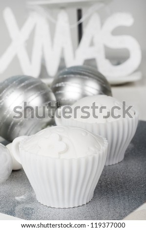 Christmas cupcakes on a silver plate