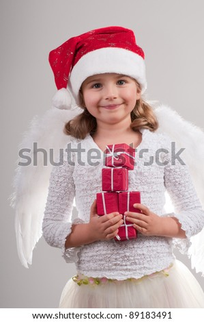 Christmas  - cute Christmas Angel with gifts