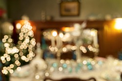 Christmas Day Holiday Celebration Dinner Table Decorations Blurred Defocused Bokeh Background Closeup