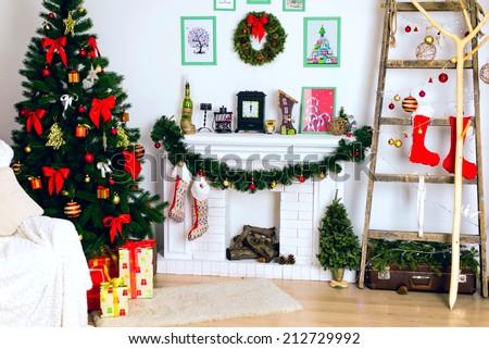 Christmas decor, Christmas Background, fireplace, Christmas tree