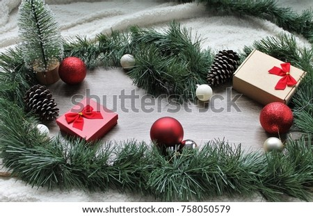 Christmas Decor - Christmas Tree, Bow Presents, Red Bows, Ornaments, Pine Cones #758050579
