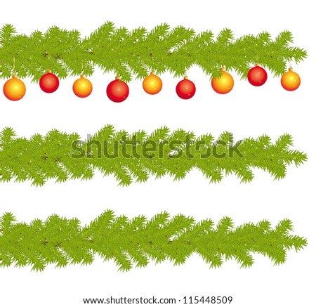 Christmas decorated branches of fire tree. Banners collection.