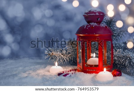 Christmas decorated lantern and candles on snow with copy space #764953579