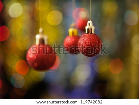 Christmas decoration against lights blurred background