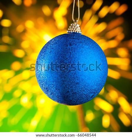 Christmas decoration against sparklers background