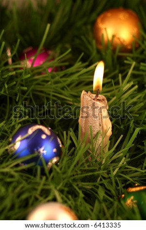 Christmas decoration and candle light