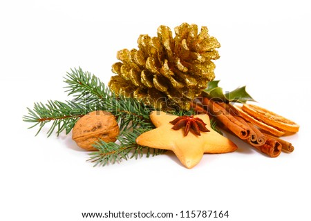Christmas decoration and Christmas cookies on whit Background.