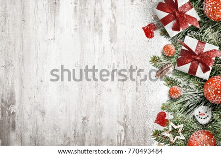 Christmas tree on white rustic wooden background with copy