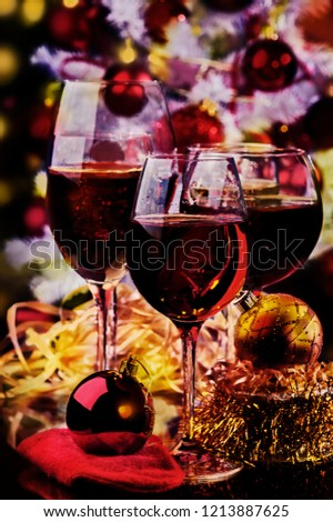 Christmas decoration and glasses of red  wine #1213887625