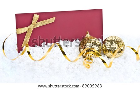 Christmas decoration and greeting card on snow background with space for text or image - stock photo
