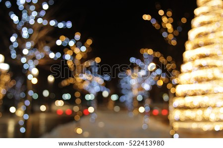 Christmas decoration background with golden lights glowing stock photo