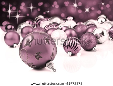 Christmas decoration balls against a star background