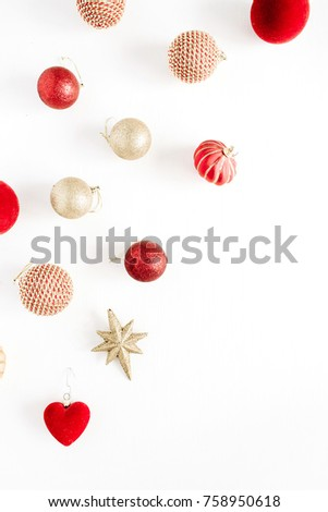 Christmas decoration balls. Flat lay, top view background. #758950618