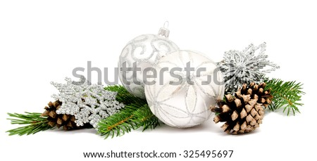 Christmas decoration balls with fir cones and fir branches isolated on a white background #325495697