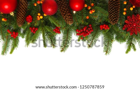 Christmas decoration baubles with branches of fir tree on white background #1250787859