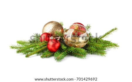 Christmas decoration baubles with branches of fir tree on white background - Shutterstock ID 701429692